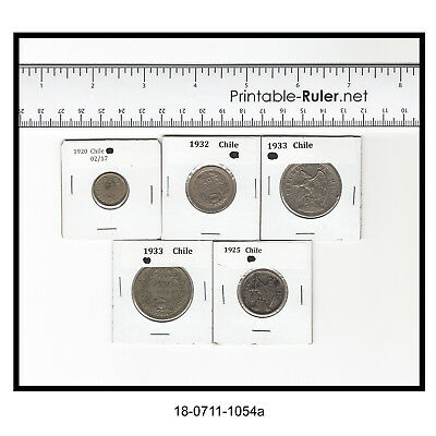 Lot of Five Coins from Chile (1920-1933)