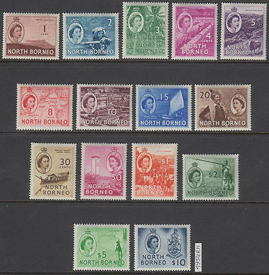 XG-AL308 NORTH BORNEO - Definitives, 1954 Exploration, 15 Valores MNH Set
