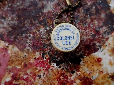 Vintage Colonel Lee Kentucky Straight Bourbon Advertising Key Chain Dice Game