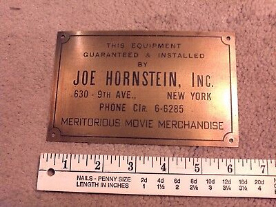 ANTIQUE brass Movie merchandise plaque sign AROUND 75 YEARS OLD