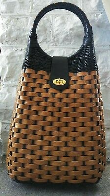 Vintage 50s Walborg Black and Tan Cellophane and Plastic Straw Woven Bag Unique
