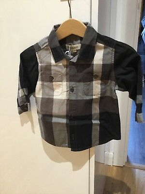 Babies 9mths - Traditional check brown/beige BURBERRY shirt boys