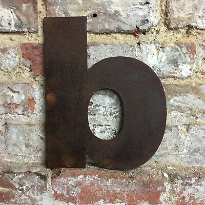 b LOWER CASE RUSTY METAL LETTERS SHOP HOME VINTAGE WORD RUSTIC INDUSTRIAL SIGN