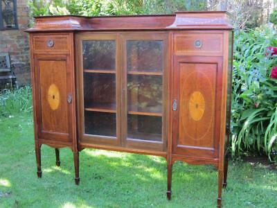 Stunning Inlaid Edwardian Display Cabinet Cupboard Shelves Antique