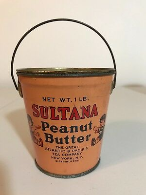 Sultana Peanut Butter Tin Pail With Handle & Lid