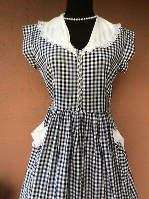 Vintage 1950's Blue and White Gingham Dress Rockabilly Pin Up Med Pin Up