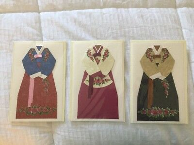 Traditional Korean Hanbok Cards (Set Of 3)
