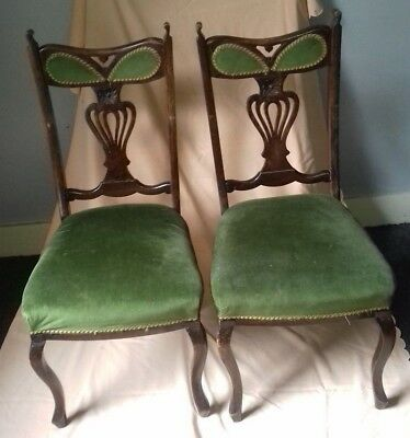 Two Original Victorian DIning Chairs Dralon Seats - Great Upcycling Project