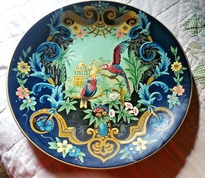 Vintage Chinese Porcelain Decorative Plate Blue with Birds and Flowers