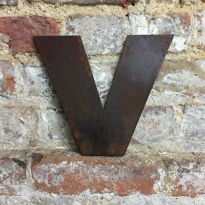 v LOWER CASE RUSTY METAL LETTERS SHOP HOME VINTAGE WORD RUSTIC INDUSTRIAL SIGN