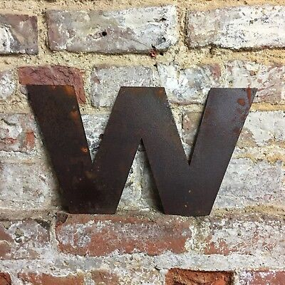w LOWER CASE RUSTY METAL LETTERS SHOP HOME VINTAGE WORD RUSTIC INDUSTRIAL SIGN