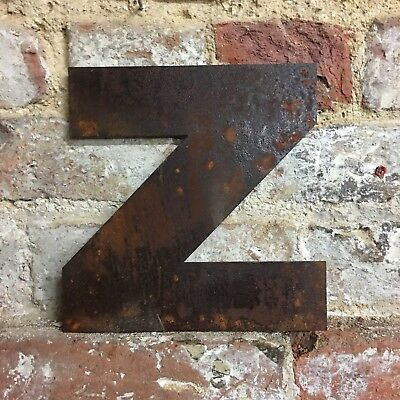 z LOWER CASE RUSTY METAL LETTERS SHOP HOME VINTAGE WORD RUSTIC INDUSTRIAL SIGN