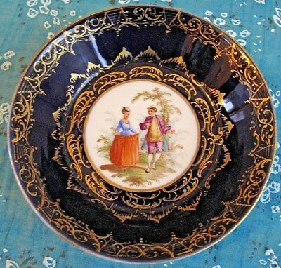 Antique 19th Royal Vienna Cobalt Blue&Gold Plate/Bowl Hand Painted