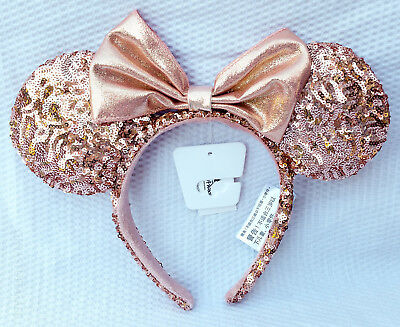 Disney ROSE GOLD MINNIE MOUSE EARS Bow Sequins Headband