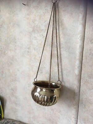 Vintage Brass Hanging Planter On Chains