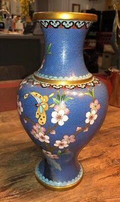 Beautiful Dragonfly & Cherry Blossoms CLOISONNÉ VASE - PEOPLES REPUBLIC OF CHINA