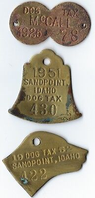 3 DIFFERENT IDAHO DOG TAX TAGS 1925 McCALL 1951, 1952 SANDPOINT  figural TAG
