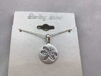 Sterling Silver Dragonfly Pendant With Crystals NWT