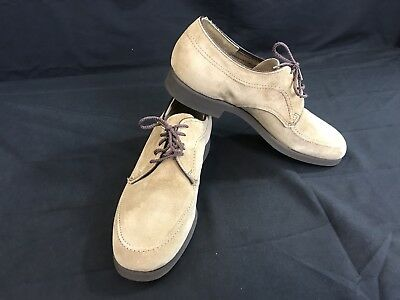 Vintage HUSH PUPPIES Tannish Brown Suede Leather Lace Up Oxford shoe 7 1/2M