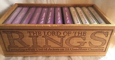 VINTAGE Lord Of The Rings Complete Cassette Tape set in engraved wooden box.