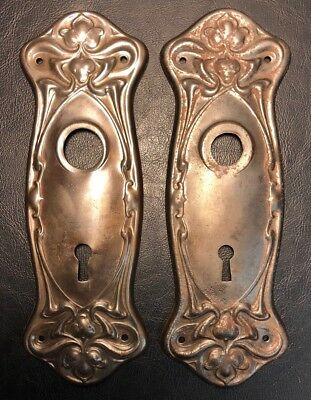 SCARCE ANTIQUE PAIR of ORNATE ART NOVEAU DOOR BACKPLATES