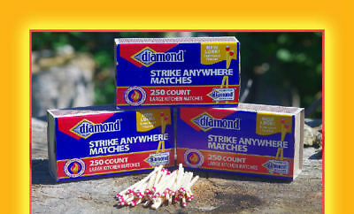 DIAMOND Strike Anywhere Matches 250ct Only - RED & White TIP RARE!!!
