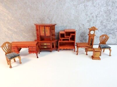 Vintage Miniature Doll House Wood Den and/or Library Furniture
