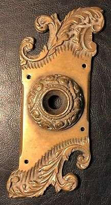 Scarce Antique Ornate Brass Push Button Doorbell Backplate