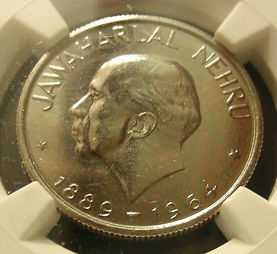 1964-B Rare Proof India  NGC PR66 DEATH OF JAWAHARLAL NEHRU 50 PAISE PF66 Rare