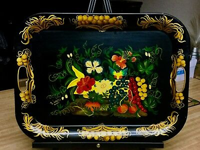 ANTIQUE TOLEWARE TRAY SIGNED W. MARSH GORGEOUS FLORAL DESIGN LARGE 16x20