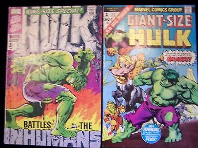 Incredible Hulk LOT King Size Special #1 (INHUMANS) 1968 & Giant Annual #1 1975