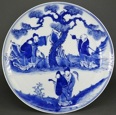 Fine Antique Chinese Blue & White Porcelain Scholars And Pine Tree Plate