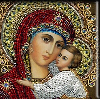Russian Orthodox Theotokos Icon Ceramic Sublimated Handmade Religious