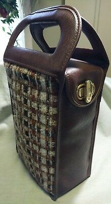 VTG THERMOS BROWN PLAID PICNIC SET Insulated Bag Sandwich Box Lunch Case