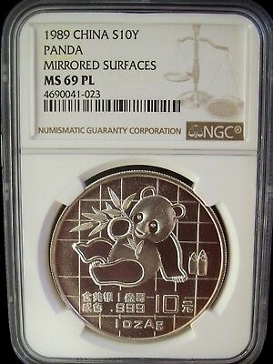 1989 China Panda Mirrored Surfaces Ngc Ms69 Pl 1 Ounce Silver Coin *very Rare*