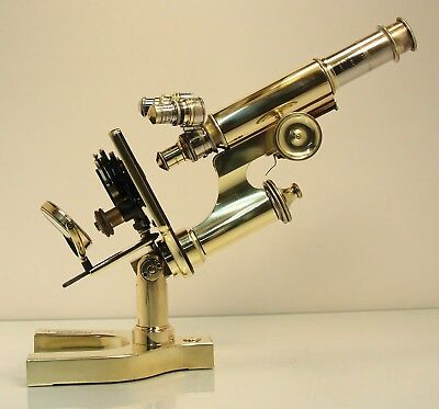 Antique Vintage All Brass Basch & Lomb Microscope