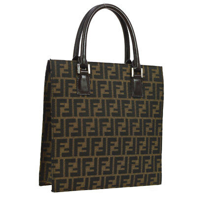 995f42041e5b Authentic FENDI Zucca Pattern Hand Tote Bag Brown Canvas Leather Vintage  AK20649