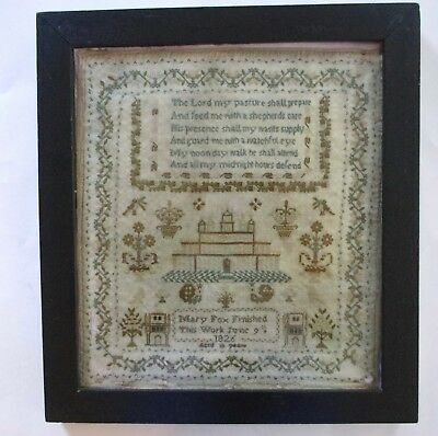 Pennsylvania 1826 Highly Decorated Colorful Sampler Work of Mary Fox