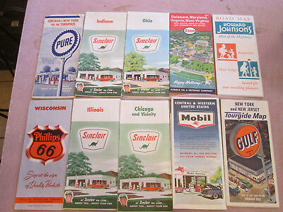 10 Service Station US Highway Maps Pure Sinclair, Esso, Phillips, Mobil, Gulf S