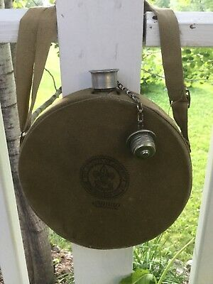 Vintage BOY SCOUTS AMERICA Canteen Aluminum w/ Canvas By  MIRRO