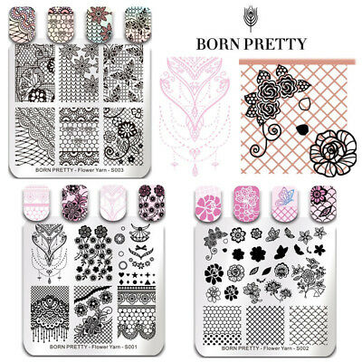 BORN PRETTY Nail Art Stamping Plates Flower Lace Image Stamp Printing Templates