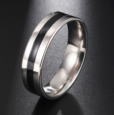 Vintage Stainless Steel Ring Silver Color With Black Stripe size 5.25-11.5