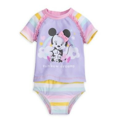 Disney Store Baby Girl Minnie Mouse 2-Piece Swimsuit (NWT)