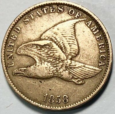 Beautiful 1858 1C Small Letters Flying Eagle Cent with XF Details