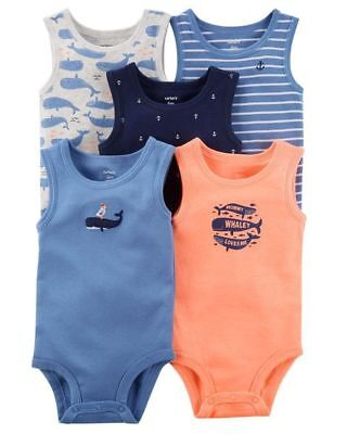 NWT New Carter's Boys 5 Pack Tank Bodysuits Mommy Whale Loves Me Nautical