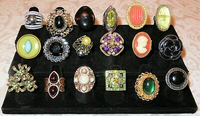 Lot of Vintage Estate Womens Costume Rings 240 Pieces Many Signed