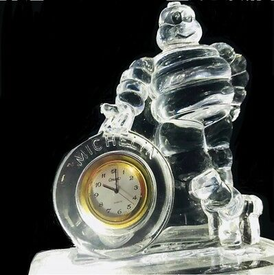 Michelin Man Crystal Clock Vintage Bib Hood Ornament Rare Investment F1 Racing