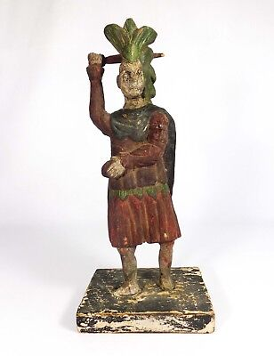 Early-Mid 19Th C Polychrome Hand-Carved Native American Fig Holding Sword/heart