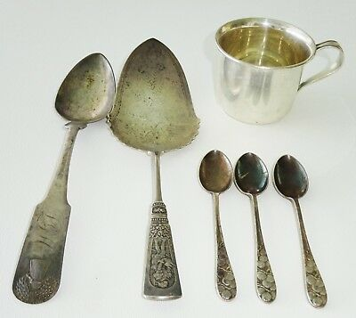 6Pc UK/JP/US Sterling & Coin Silver Mixed Lot by Gorham, S. Kirk, DBH(Cal)
