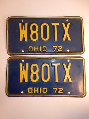 Vintage 1972 Pair Of Ohio License Plates Plate Blue & Yellow